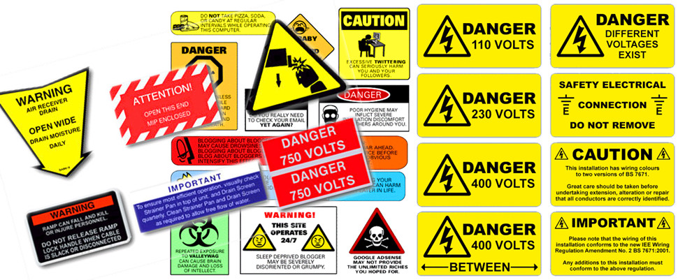 Safety Tags & Labels, Safety Signs, Safety Plates, Safety Decals.