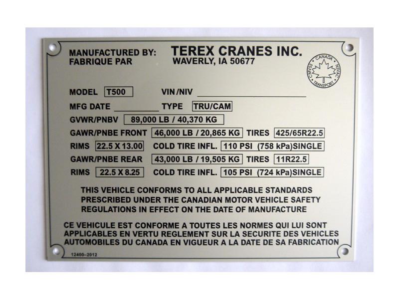 Mirror Aluminium Nameplate Screen Printing Custom Data