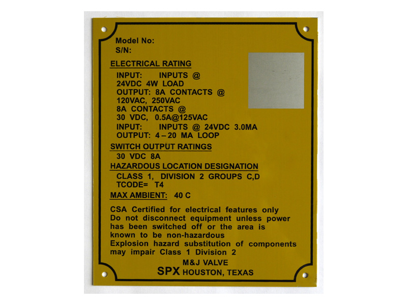 Custom Data Plates Metal Data Tags Aircraft Data Plate