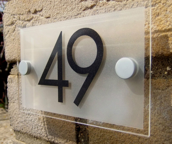 acrylic wall mounted house number sign, door number