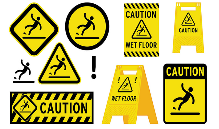 Customized yellow reflective caution wet floor sign