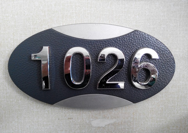 Customized stainless steel room number plate
