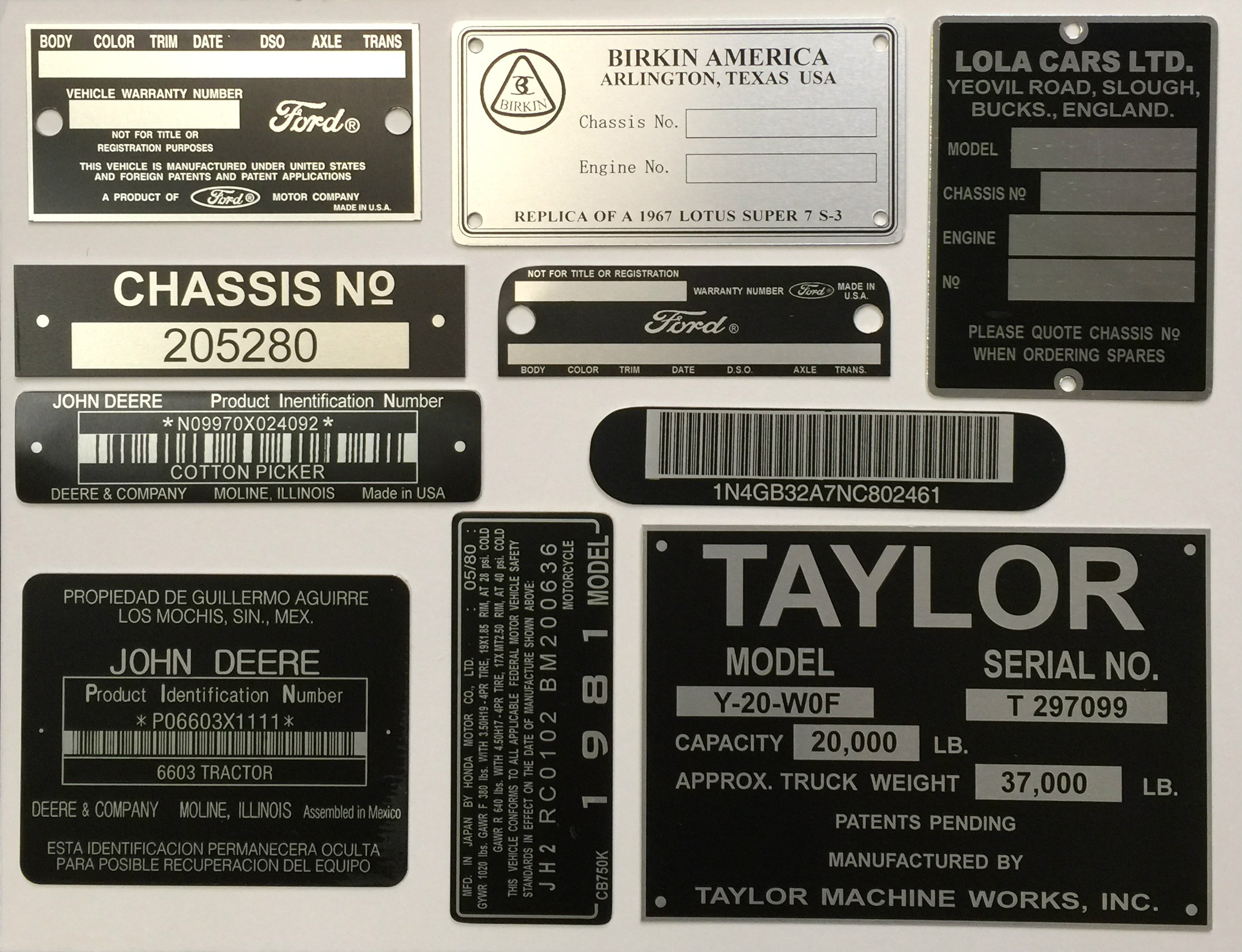 VIN Tags & Hull Plates Manufacturer